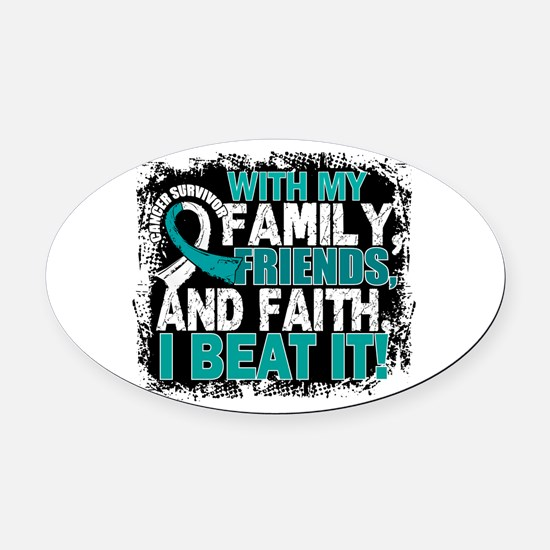 Cervical Cancer Survivor FamilyFri Oval Car Magnet
