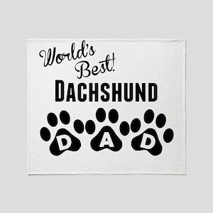 Worlds Best Dachshund Dad Throw Blanket