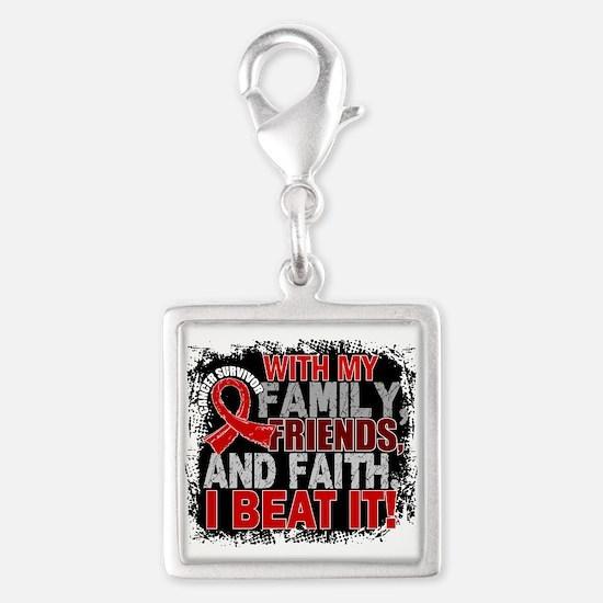 Blood Cancer Survivor FamilyF Silver Square Charm