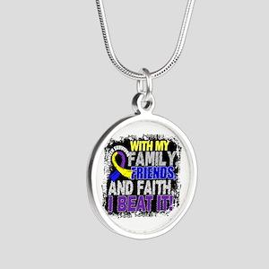 Bladder Cancer Survivor Fami Silver Round Necklace