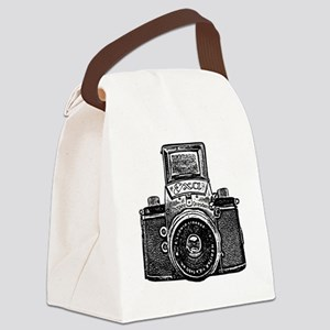 Vintage Camera - Black Canvas Lunch Bag