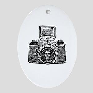 Vintage Camera - Black Oval Ornament