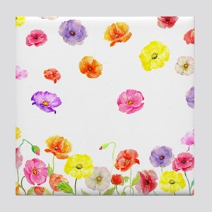 Watercolor Abstract Poppy Pattern wit Tile Coaster