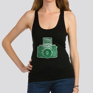 Vintage Camera - Forest Green Racerback Tank Top