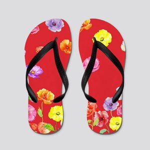 Watercolor Abstract Poppy Pattern with Flip Flops