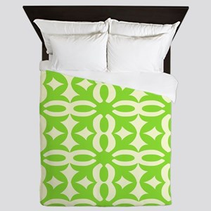 Lime Green Victorian Lacy Design Queen Duvet