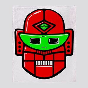 Retro Robot Head Throw Blanket