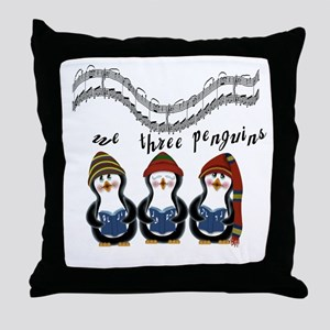 We Three Penguins Throw Pillow