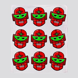 Retro Robot Heads Throw Blanket