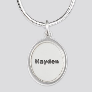 Hayden Wolf Silver Oval Necklace