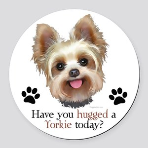 Yorkie Hug Round Car Magnet
