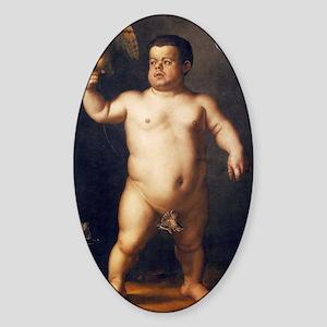 Portrait of the Dwarf Morgante by B Sticker (Oval)