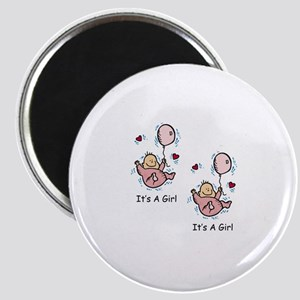 Twin Girl Baby Announcement Magnet