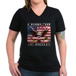 Cruising Los Angeles Women's V-Neck Dark T-Shirt