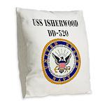 USS ISHERWOOD Burlap Throw Pillow