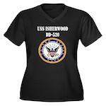 USS ISHERWOO Women's Plus Size V-Neck Dark T-Shirt