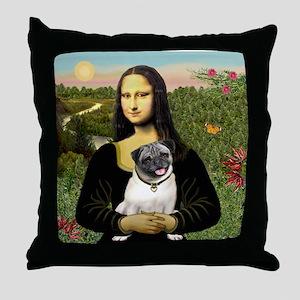 Mona's Fawn Pug Throw Pillow
