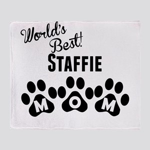 Worlds Best Staffie Mom Throw Blanket
