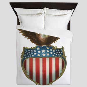 Vintage Patriotic Eagle and American F Queen Duvet