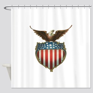 Vintage Patriotic Eagle and America Shower Curtain