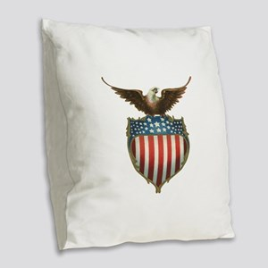 Vintage Patriotic Eagle and Am Burlap Throw Pillow