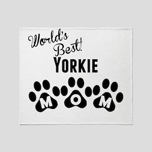 Worlds Best Yorkie Mom Throw Blanket