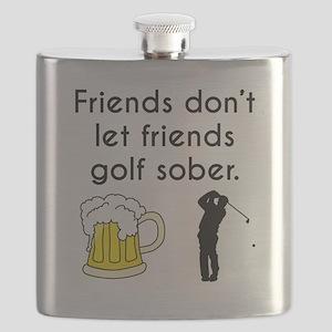 Friends Dont Let Friends Golf Sober Flask