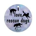 I Love Rescue Dogs Ornament (Round)