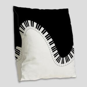 Piano Keyboard Burlap Throw Pillow
