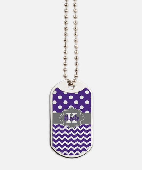 Purple Gray Dots Chevron Personalized Dog Tags