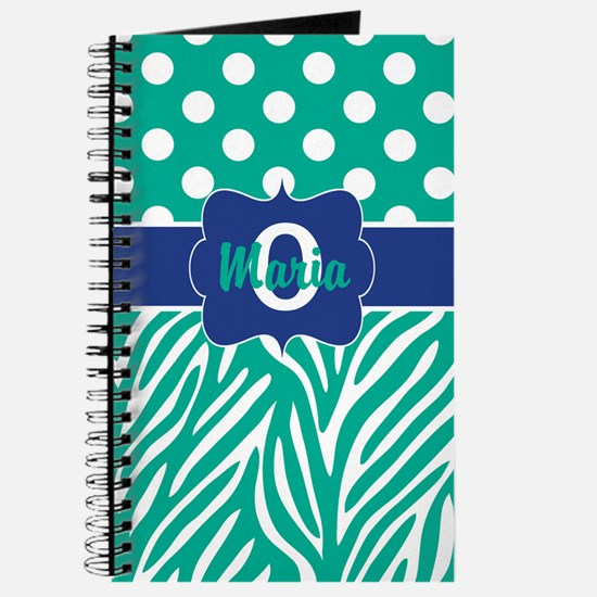 Teal Blue Dots Zebra Personalized Journal