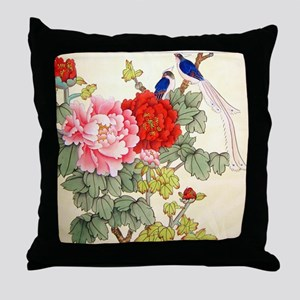 Chinese Water Color Painting Throw Pillow
