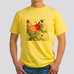 Chinese Water Color Painting Yellow T-Shirt