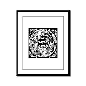 Chinese Dragon & Phoenix Symb Framed Panel Print