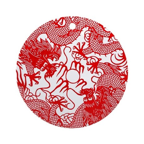Chinese Twin Dragons Symbol Ornament Round By Artisticchinesecreations