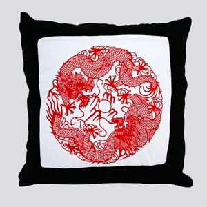 Chinese Twin Dragons Symbol Throw Pillow