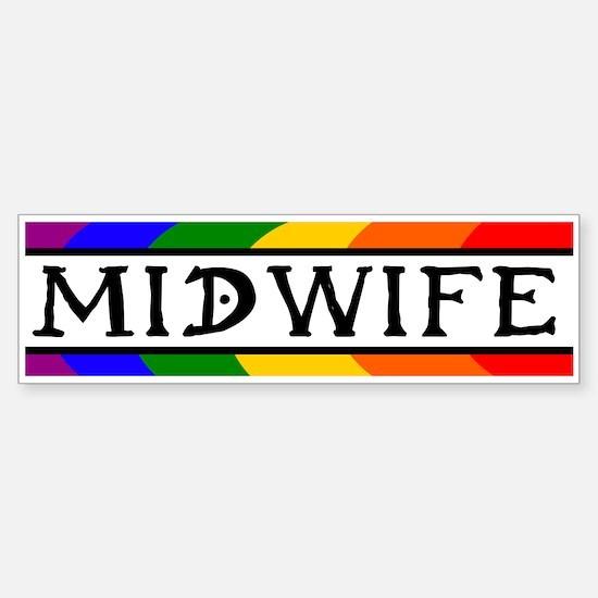 Rainbow Midwife Bumper Car Car Sticker