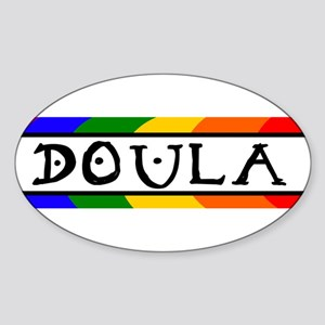 Doula Rainbow Oval Sticker