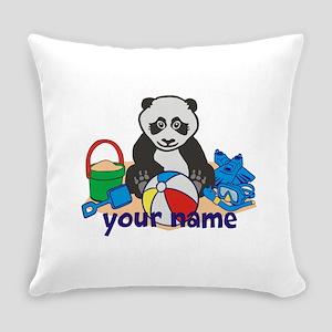 Personalized Beach Panda Everyday Pillow