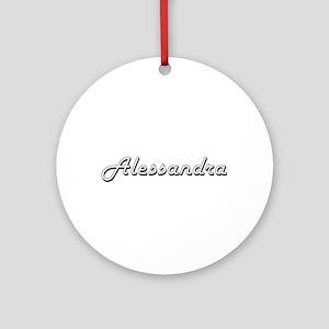Alessandra Classic Retro Name Des Ornament (Round)