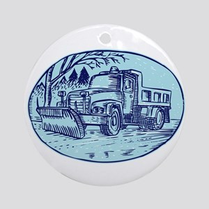Snow Plow Truck Oval Etching Ornament (Round)