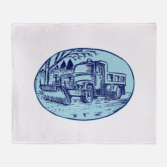 Snow Plow Truck Oval Etching Throw Blanket
