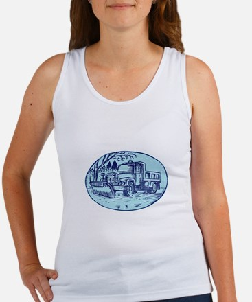 Snow Plow Truck Oval Etching Tank Top