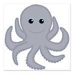Octopus Gray Cartoon Square Car Magnet 3