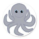 Octopus Gray Cartoon Round Car Magnet