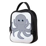 Octopus Gray Cartoon Neoprene Lunch Bag