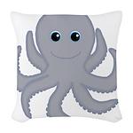 Octopus Gray Cartoon Woven Throw Pillow