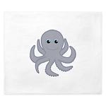 Octopus Gray Cartoon King Duvet