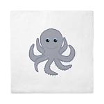Octopus Gray Cartoon Queen Duvet