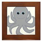 Octopus Gray Cartoon Framed Tile